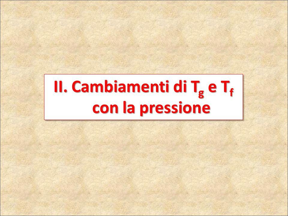 II. Cambiamenti di Tg e Tf con la pressione