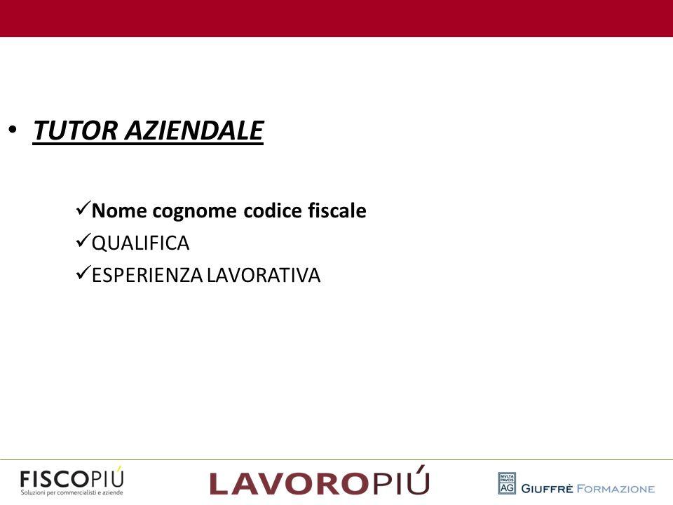 TUTOR AZIENDALE Nome cognome codice fiscale QUALIFICA