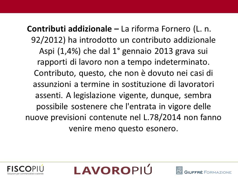 Contributi addizionale – La riforma Fornero (L. n