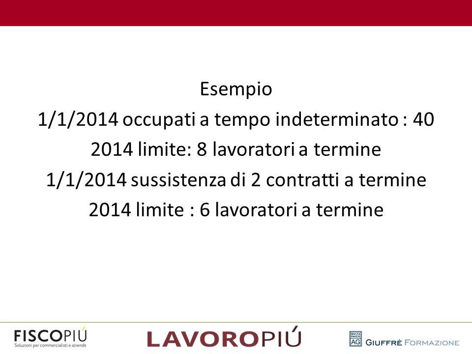 Esempio 1/1/2014 occupati a tempo indeterminato : 40 2014 limite: 8 lavoratori a termine 1/1/2014 sussistenza di 2 contratti a termine 2014 limite : 6 lavoratori a termine