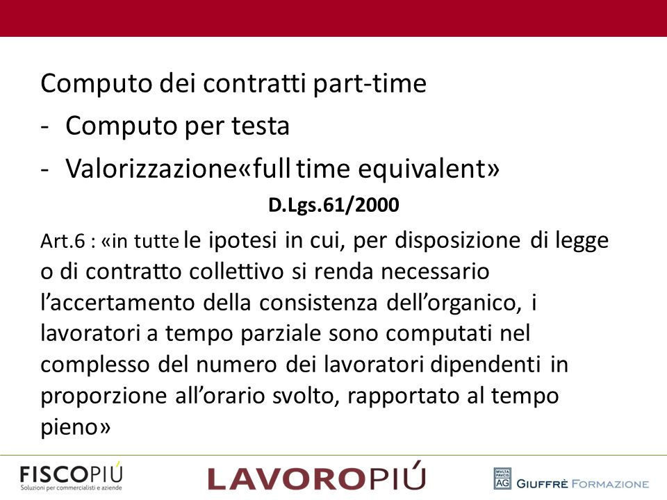 Computo dei contratti part-time Computo per testa