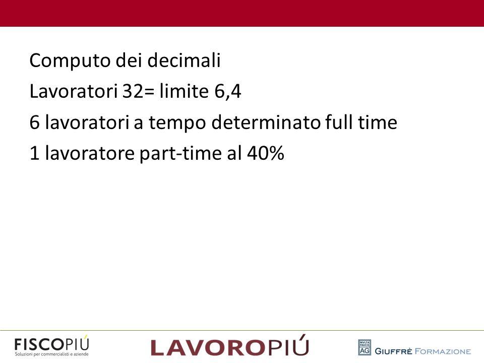 Computo dei decimali Lavoratori 32= limite 6,4 6 lavoratori a tempo determinato full time 1 lavoratore part-time al 40%