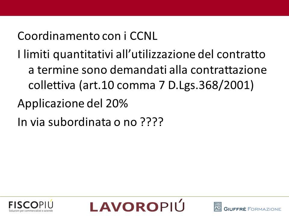Coordinamento con i CCNL I limiti quantitativi all'utilizzazione del contratto a termine sono demandati alla contrattazione collettiva (art.10 comma 7 D.Lgs.368/2001) Applicazione del 20% In via subordinata o no