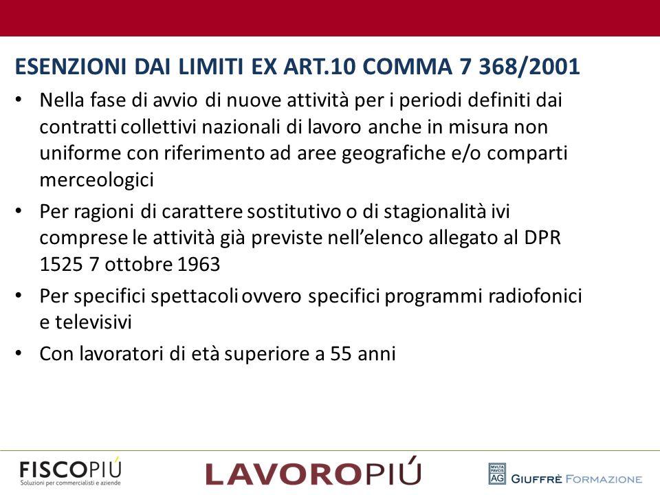 ESENZIONI DAI LIMITI EX ART.10 COMMA 7 368/2001