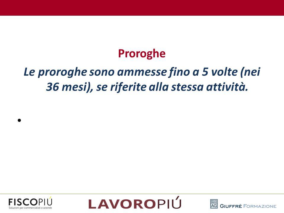 Proroghe Le proroghe sono ammesse fino a 5 volte (nei 36 mesi), se riferite alla stessa attività.