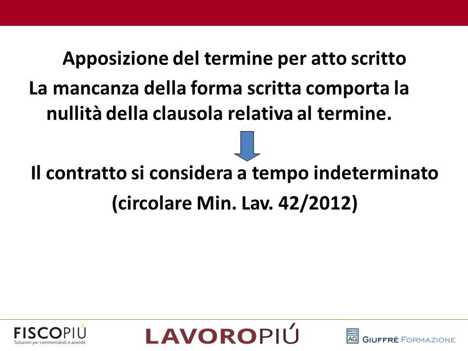 Apposizione del termine per atto scritto La mancanza della forma scritta comporta la nullità della clausola relativa al termine. Il contratto si considera a tempo indeterminato (circolare Min. Lav. 42/2012)