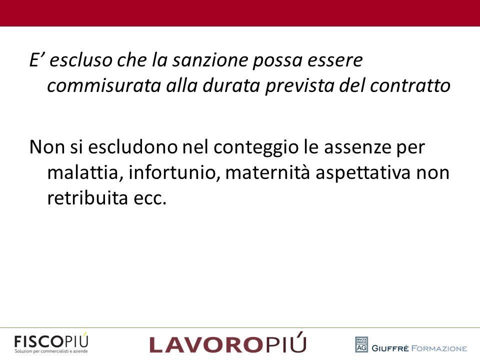 E' escluso che la sanzione possa essere commisurata alla durata prevista del contratto Non si escludono nel conteggio le assenze per malattia, infortunio, maternità aspettativa non retribuita ecc.
