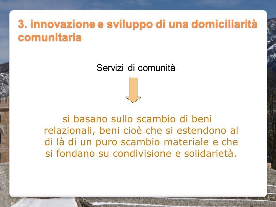 3. innovazione e sviluppo di una domiciliarità comunitaria
