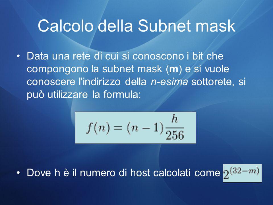 Calcolo della Subnet mask