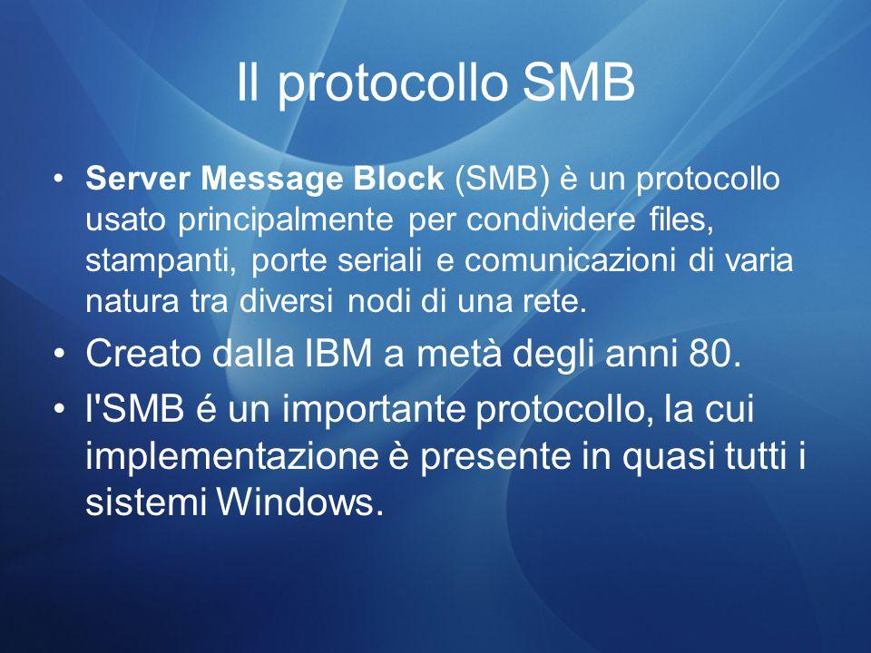 Il protocollo SMB Creato dalla IBM a metà degli anni 80.