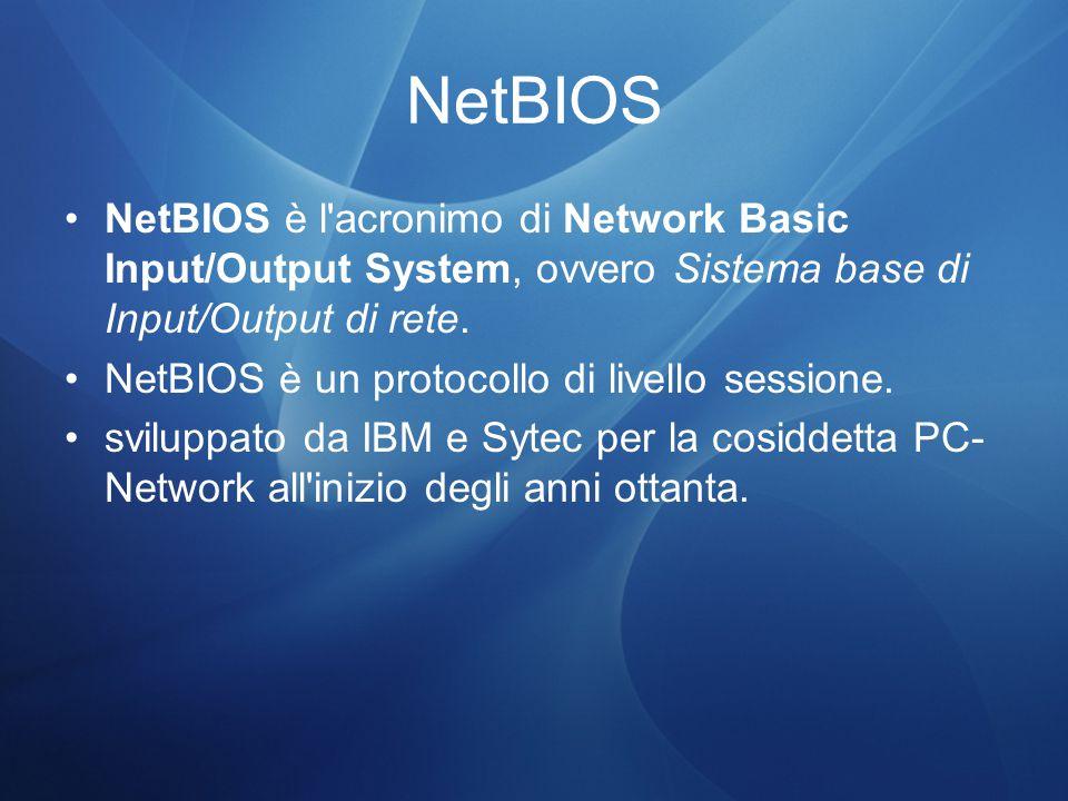 NetBIOS NetBIOS è l acronimo di Network Basic Input/Output System, ovvero Sistema base di Input/Output di rete.
