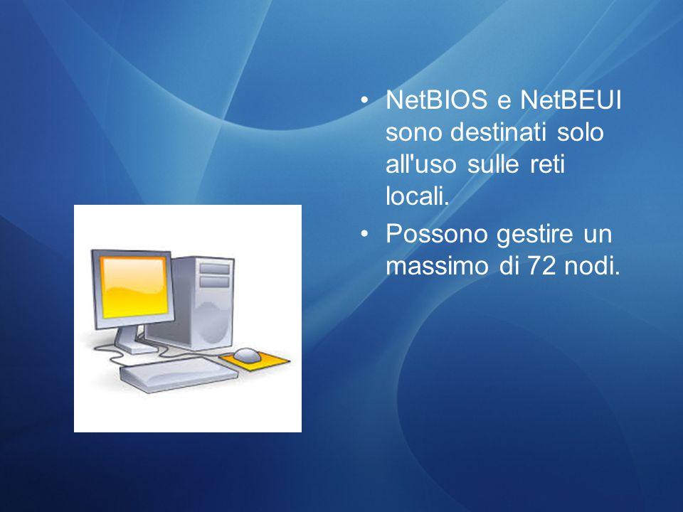 NetBIOS e NetBEUI sono destinati solo all uso sulle reti locali.