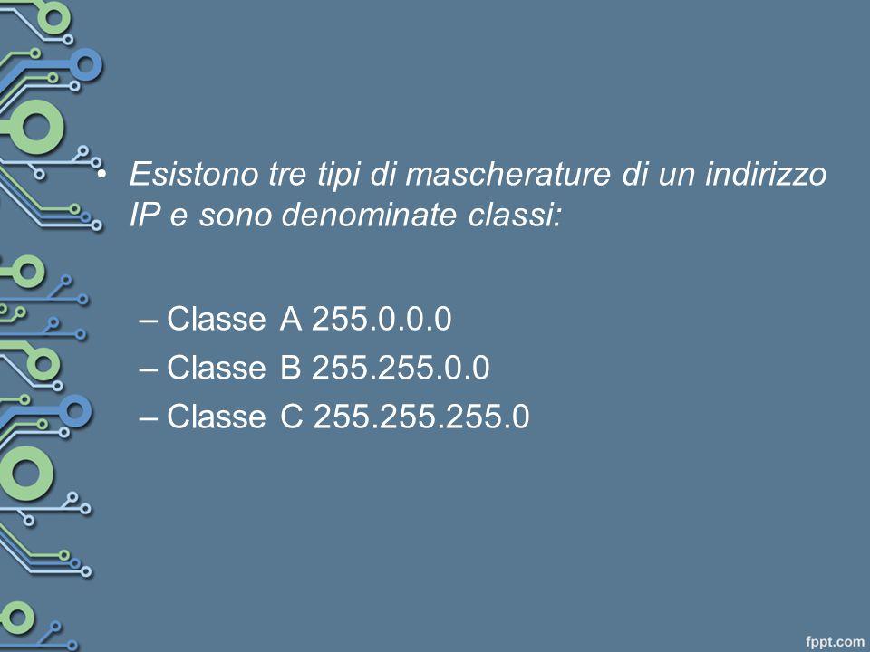 Esistono tre tipi di mascherature di un indirizzo IP e sono denominate classi: