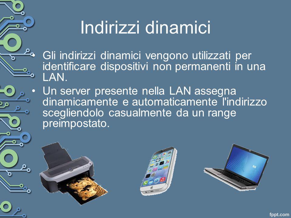 Indirizzi dinamici Gli indirizzi dinamici vengono utilizzati per identificare dispositivi non permanenti in una LAN.