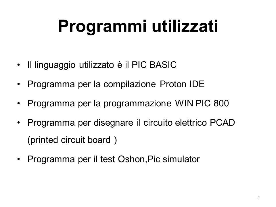 Programmi utilizzati Il linguaggio utilizzato è il PIC BASIC