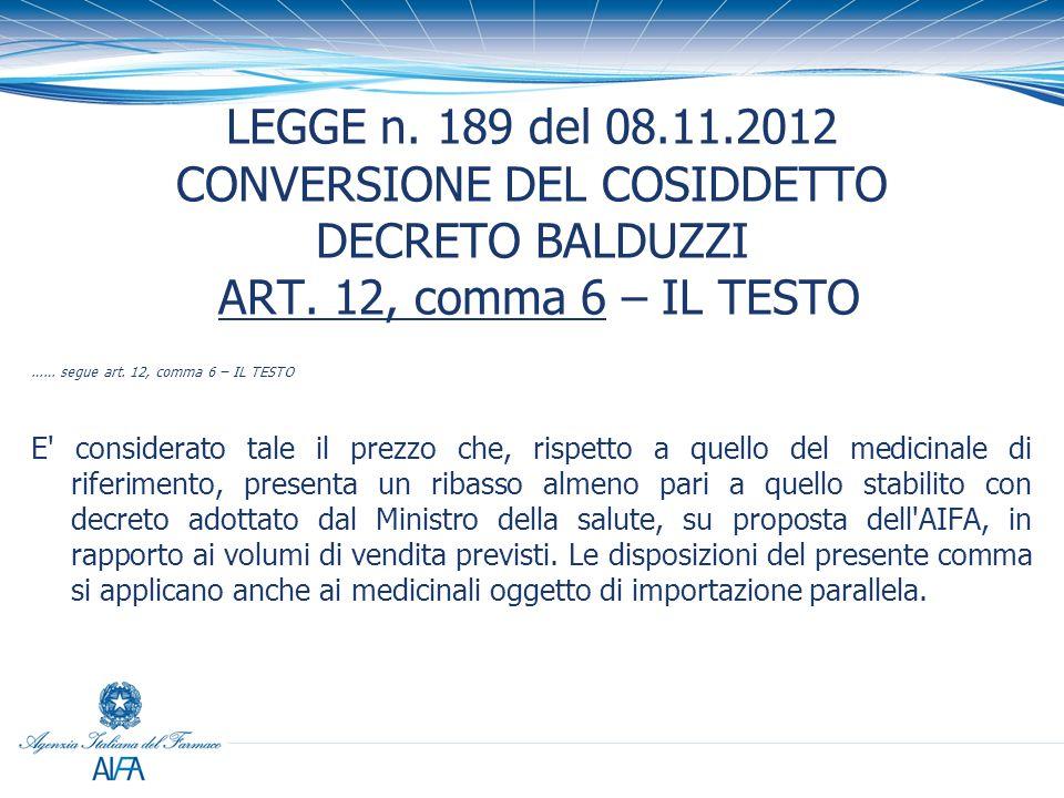 LEGGE n. 189 del 08.11.2012 CONVERSIONE DEL COSIDDETTO DECRETO BALDUZZI ART. 12, comma 6 – IL TESTO