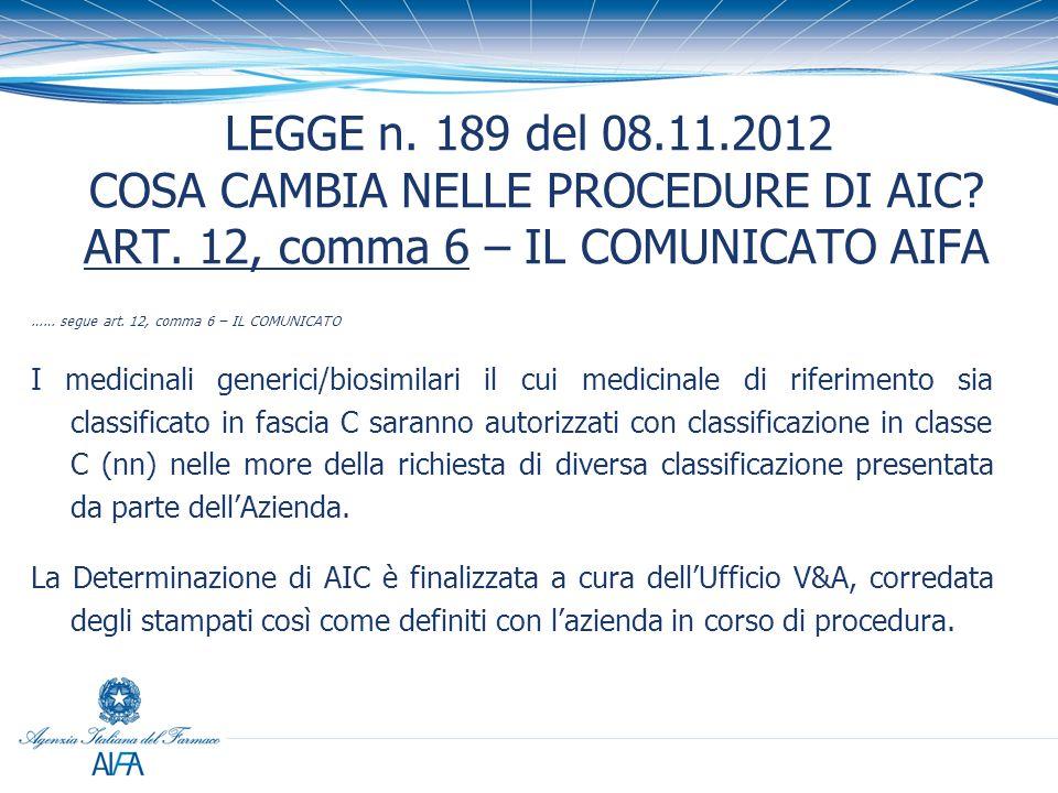 LEGGE n. 189 del 08. 11. 2012 COSA CAMBIA NELLE PROCEDURE DI AIC. ART