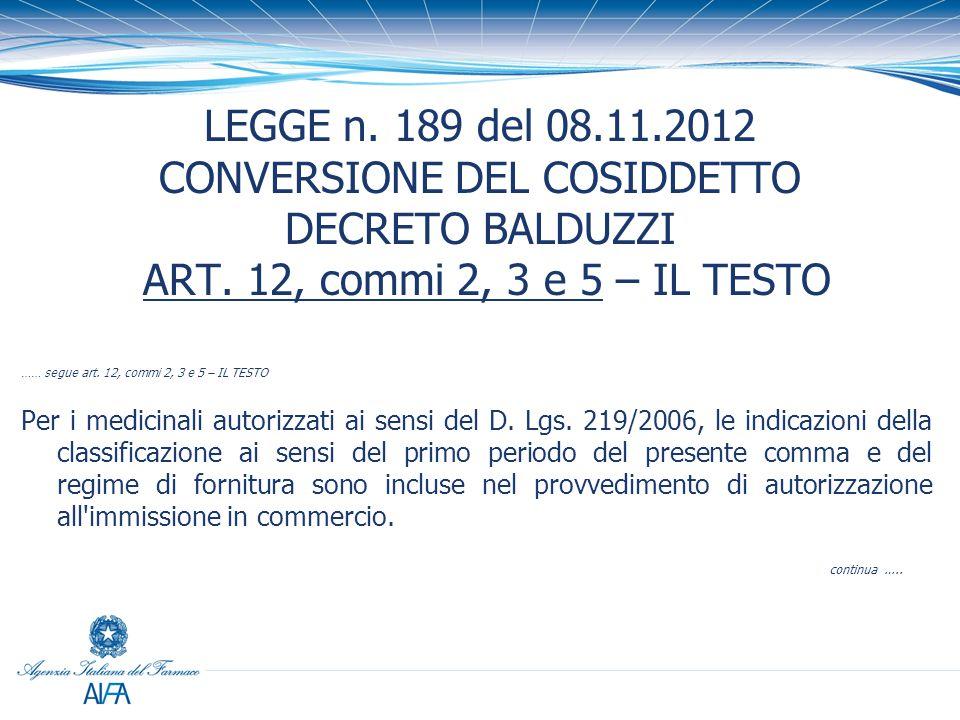 LEGGE n. 189 del 08.11.2012 CONVERSIONE DEL COSIDDETTO DECRETO BALDUZZI ART. 12, commi 2, 3 e 5 – IL TESTO