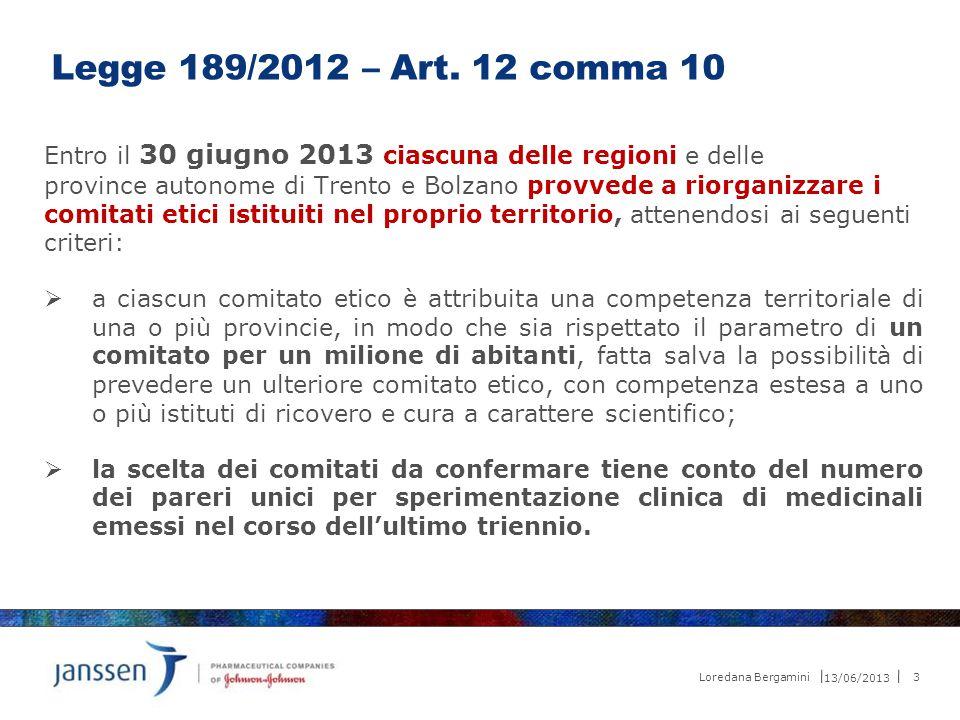 Legge 189/2012 – Art. 12 comma 10 Entro il 30 giugno 2013 ciascuna delle regioni e delle.