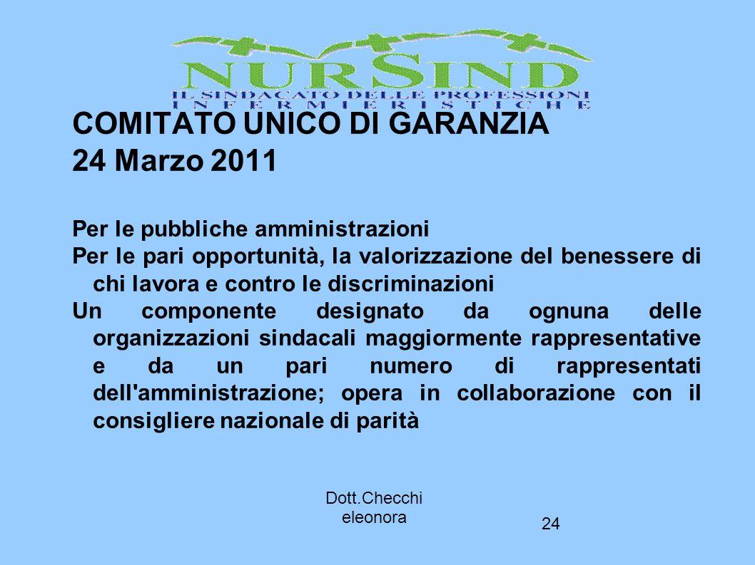COMITATO UNICO DI GARANZIA 24 Marzo 2011