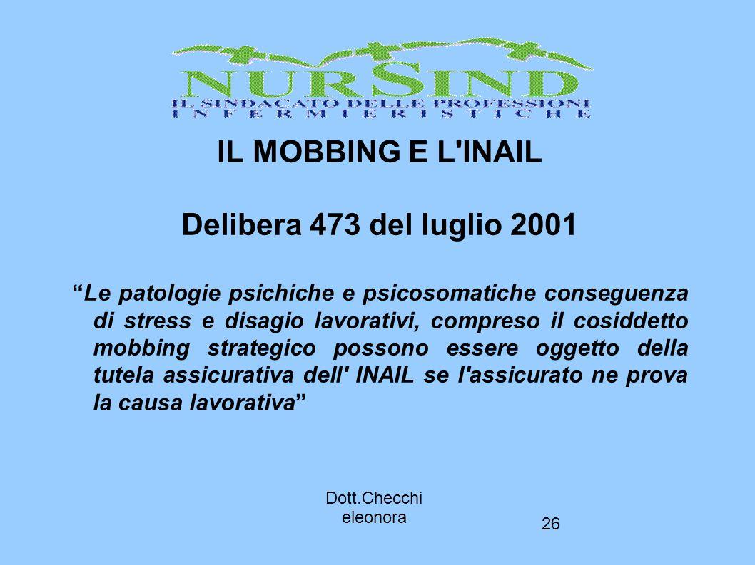 IL MOBBING E L INAIL Delibera 473 del luglio 2001