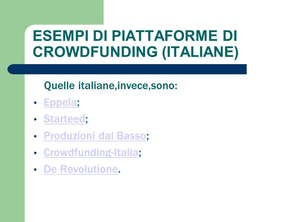 ESEMPI DI PIATTAFORME DI CROWDFUNDING (ITALIANE)