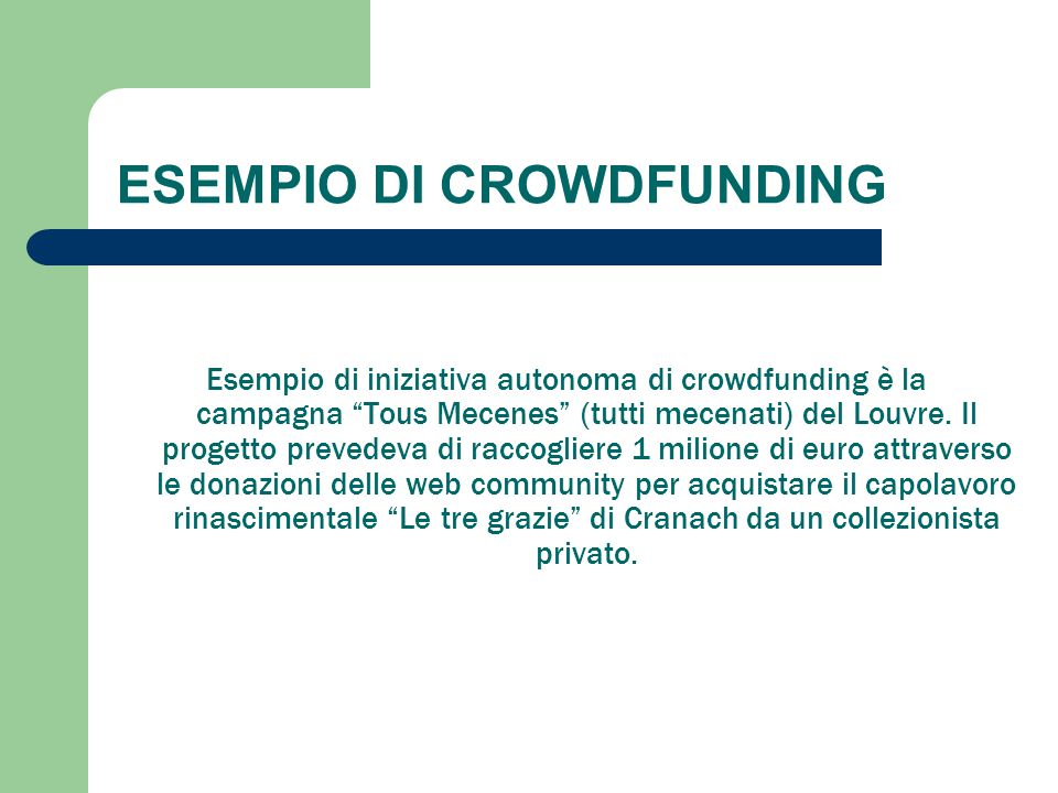 ESEMPIO DI CROWDFUNDING