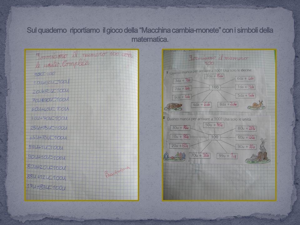 Sul quaderno riportiamo il gioco della Macchina cambia-monete con i simboli della matematica.