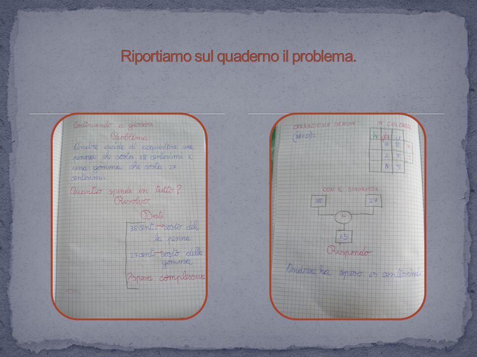 Riportiamo sul quaderno il problema.