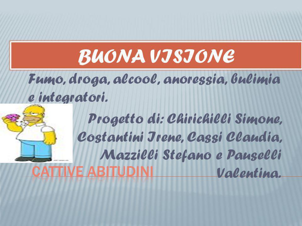 BUONA VISIONE Fumo, droga, alcool, anoressia, bulimia e integratori.