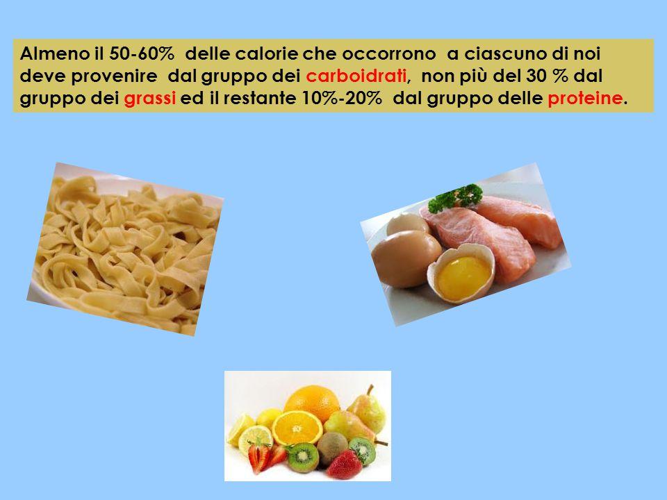 Almeno il 50-60% delle calorie che occorrono a ciascuno di noi deve provenire dal gruppo dei carboidrati, non più del 30 % dal gruppo dei grassi ed il restante 10%-20% dal gruppo delle proteine.
