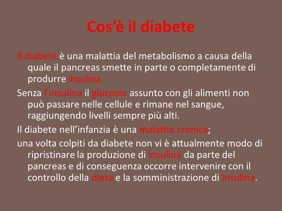 Cos'è il diabete Il diabete è una malattia del metabolismo a causa della quale il pancreas smette in parte o completamente di produrre insulina.