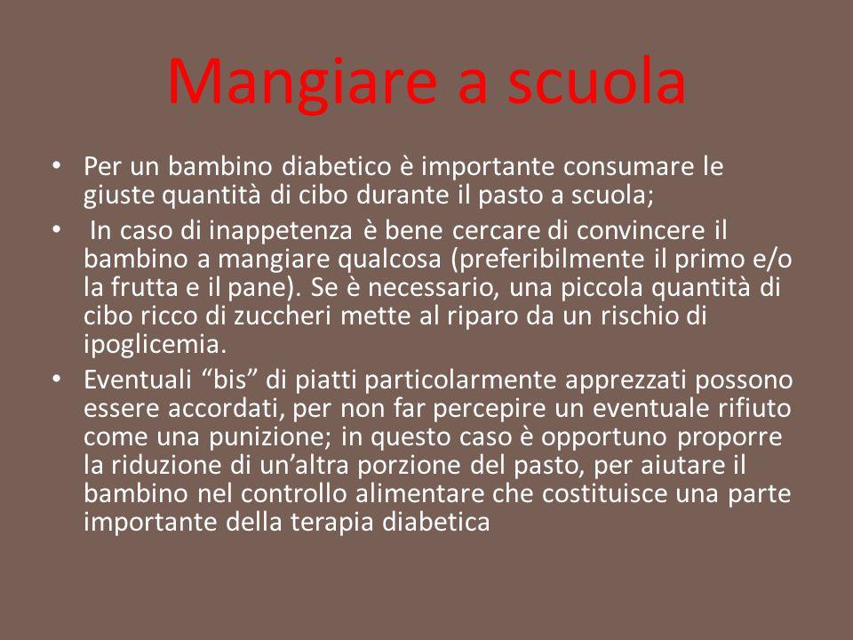 Mangiare a scuola Per un bambino diabetico è importante consumare le giuste quantità di cibo durante il pasto a scuola;