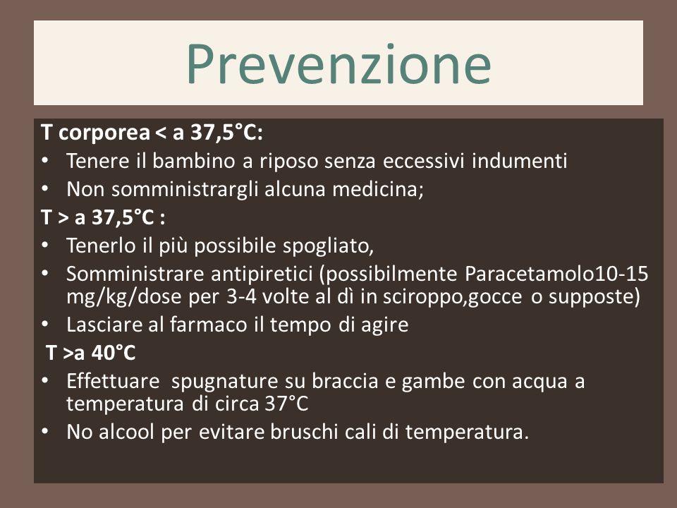 Prevenzione T corporea < a 37,5°C: