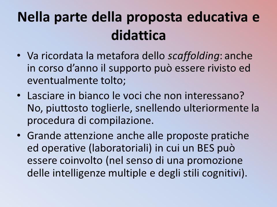 Nella parte della proposta educativa e didattica