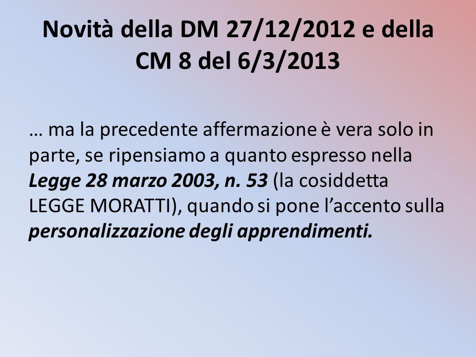 Novità della DM 27/12/2012 e della CM 8 del 6/3/2013