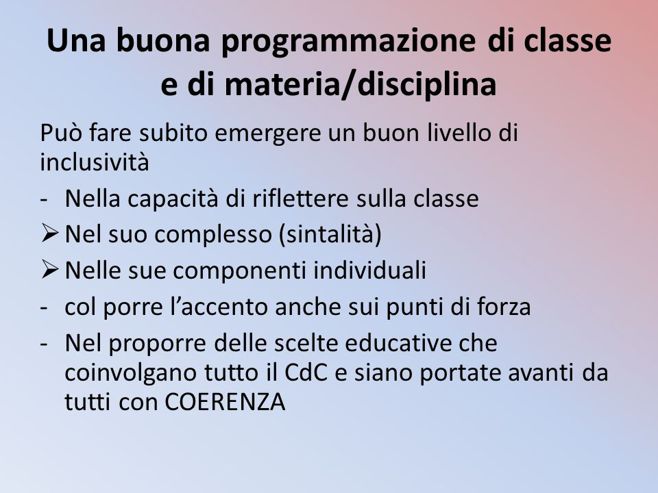 Una buona programmazione di classe e di materia/disciplina