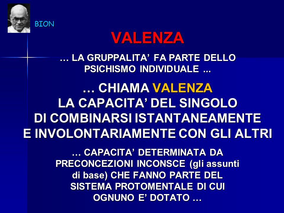 VALENZA … CHIAMA VALENZA LA CAPACITA' DEL SINGOLO