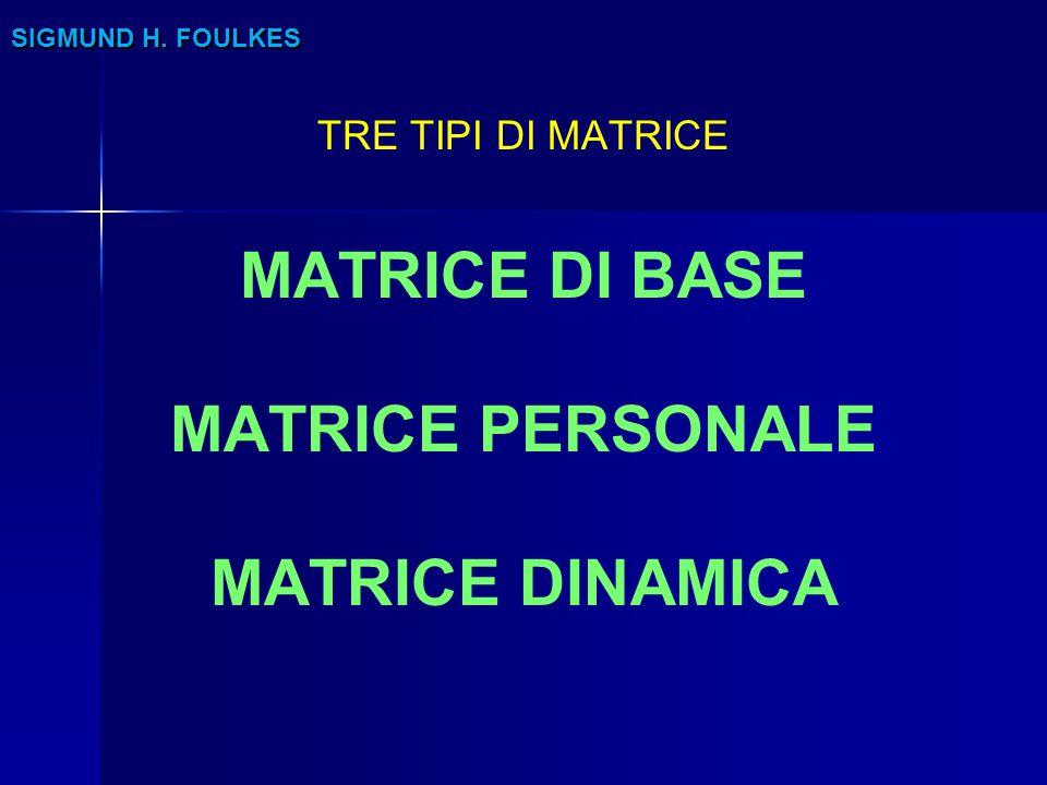 MATRICE DI BASE MATRICE PERSONALE MATRICE DINAMICA