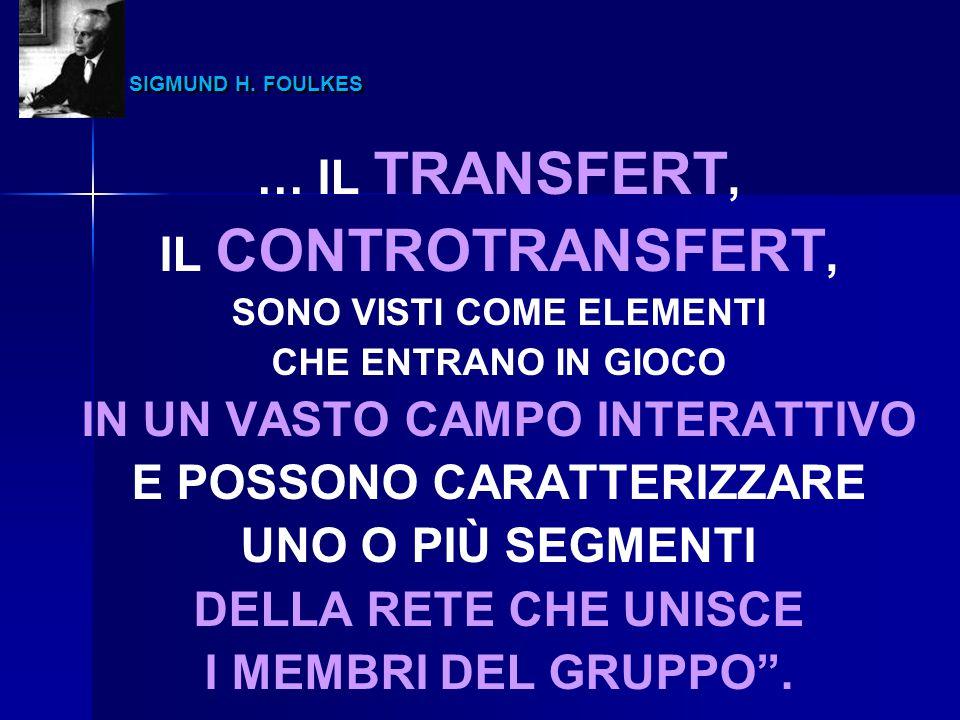 SIGMUND H. FOULKES … IL TRANSFERT, IL CONTROTRANSFERT,