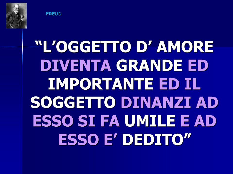 L'OGGETTO D' AMORE DIVENTA GRANDE ED IMPORTANTE ED IL