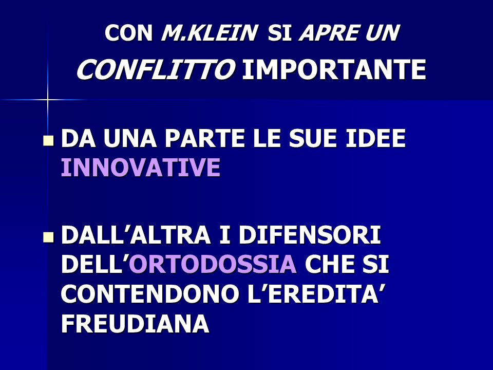 CONFLITTO IMPORTANTE DA UNA PARTE LE SUE IDEE INNOVATIVE