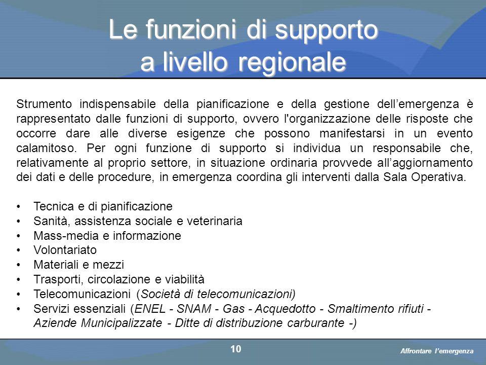 Le funzioni di supporto a livello regionale