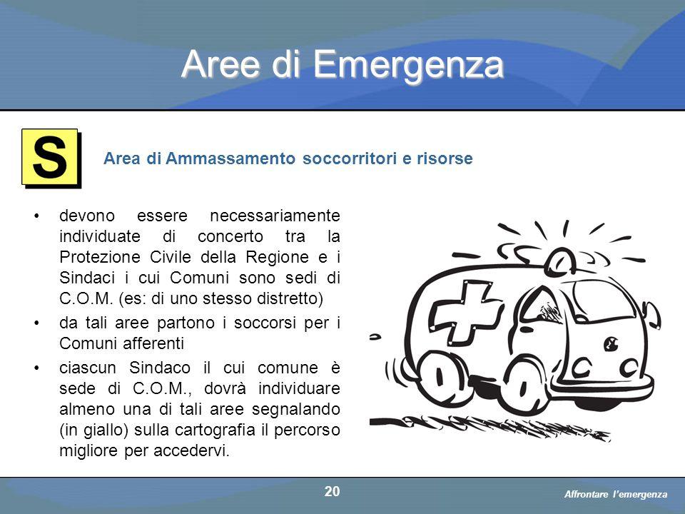 Aree di Emergenza Area di Ammassamento soccorritori e risorse
