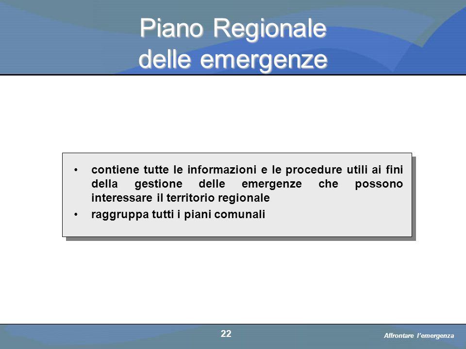Piano Regionale delle emergenze