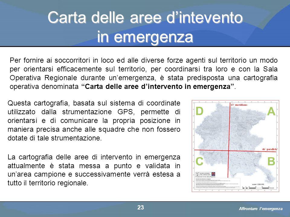 Carta delle aree d'intevento in emergenza