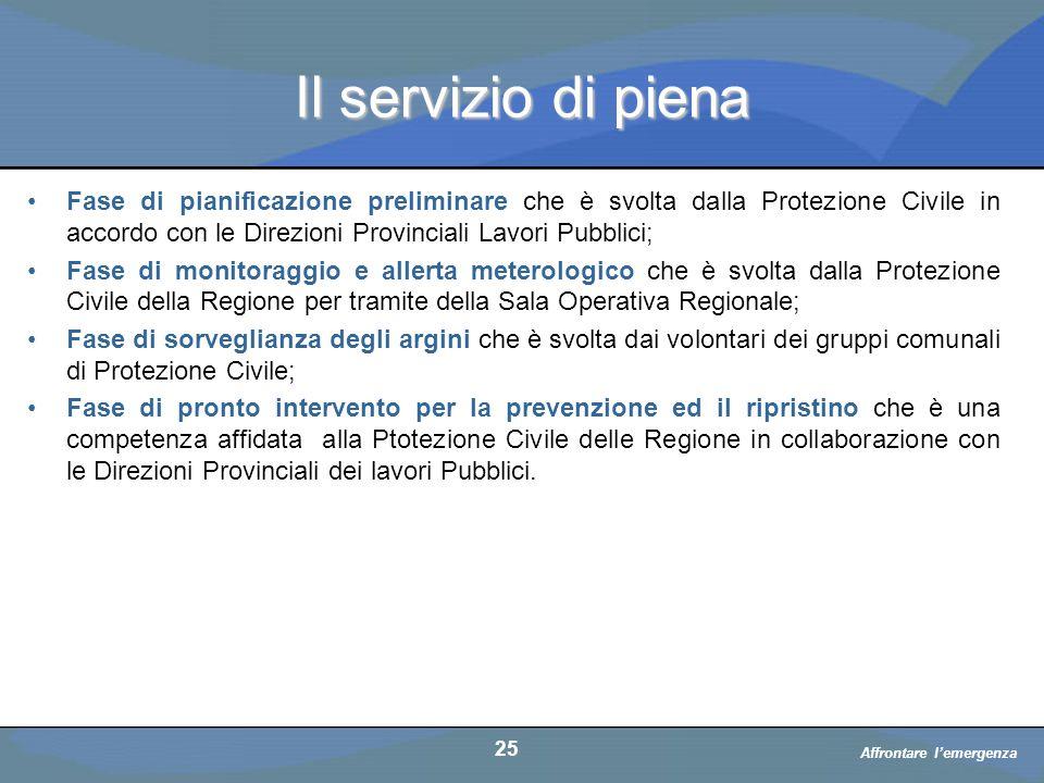 Il servizio di piena Fase di pianificazione preliminare che è svolta dalla Protezione Civile in accordo con le Direzioni Provinciali Lavori Pubblici;