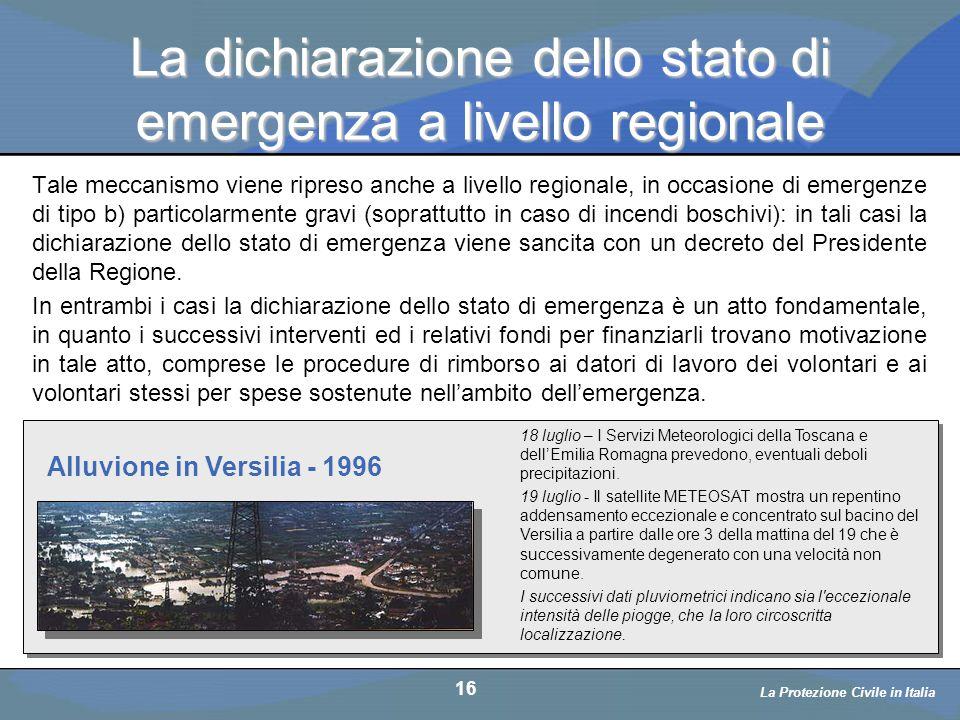La dichiarazione dello stato di emergenza a livello regionale