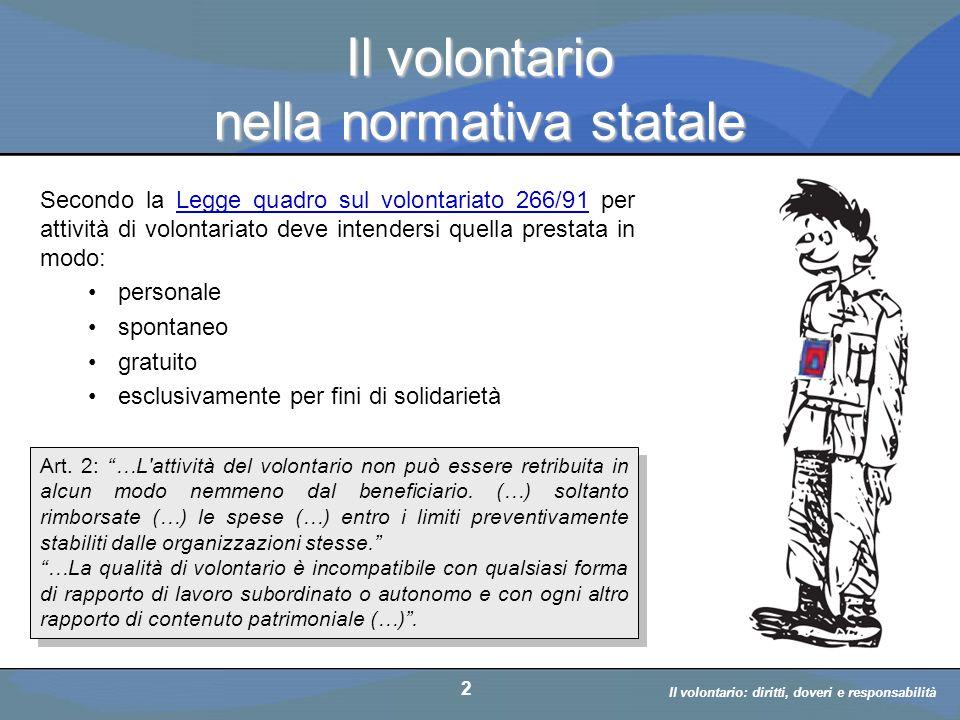 Il volontario nella normativa statale
