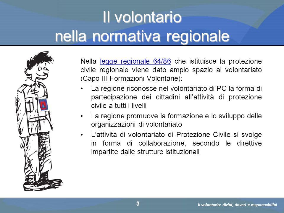 Il volontario nella normativa regionale